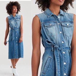 7 For All Mankind midi trucker dress denim small